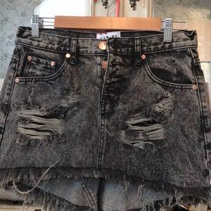 distressed acid wash one teaspoon denim skirt